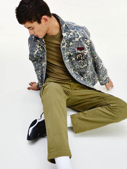 Pantalon-cargo-en-algodon-elastico-de-corte-recto