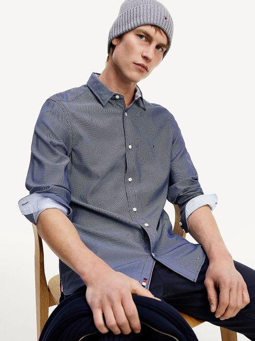 Camisa-de-corte-slim-en-tejido-dobby